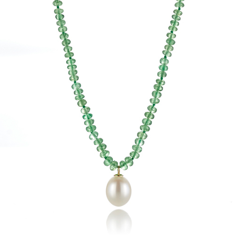 Gump's Faceted Tsavorite With Freshwater Pearl Pendant Necklace