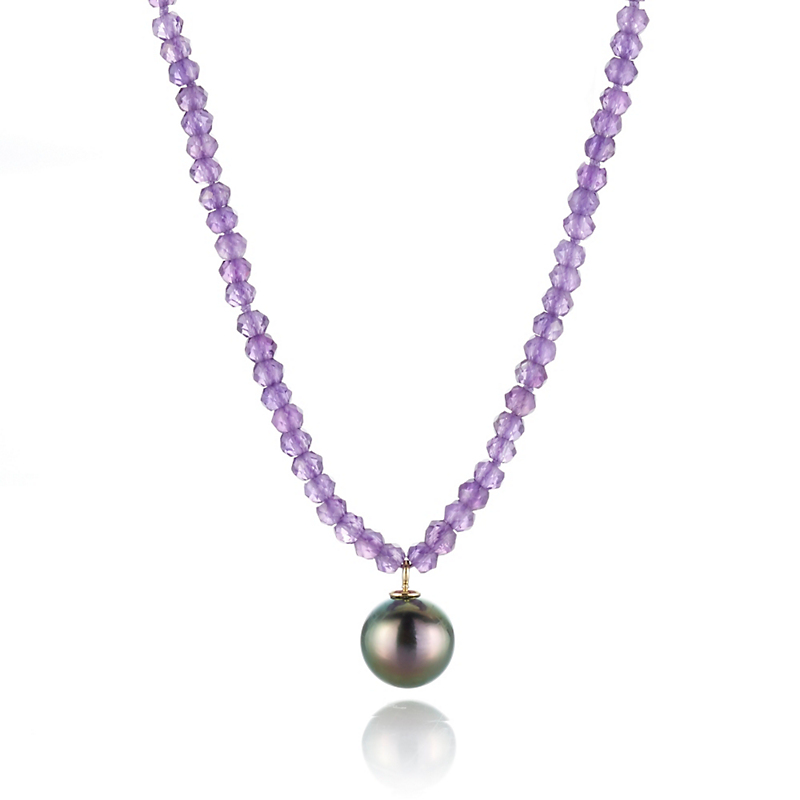 Gump's Faceted Amethyst And Tahitian Pearl Pendant Necklace