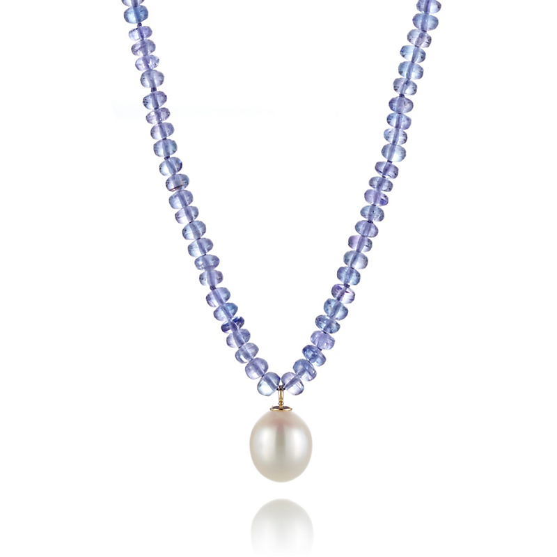 Gump's Faceted Tanzanite &  Freshwater Pearl Pendant Necklace