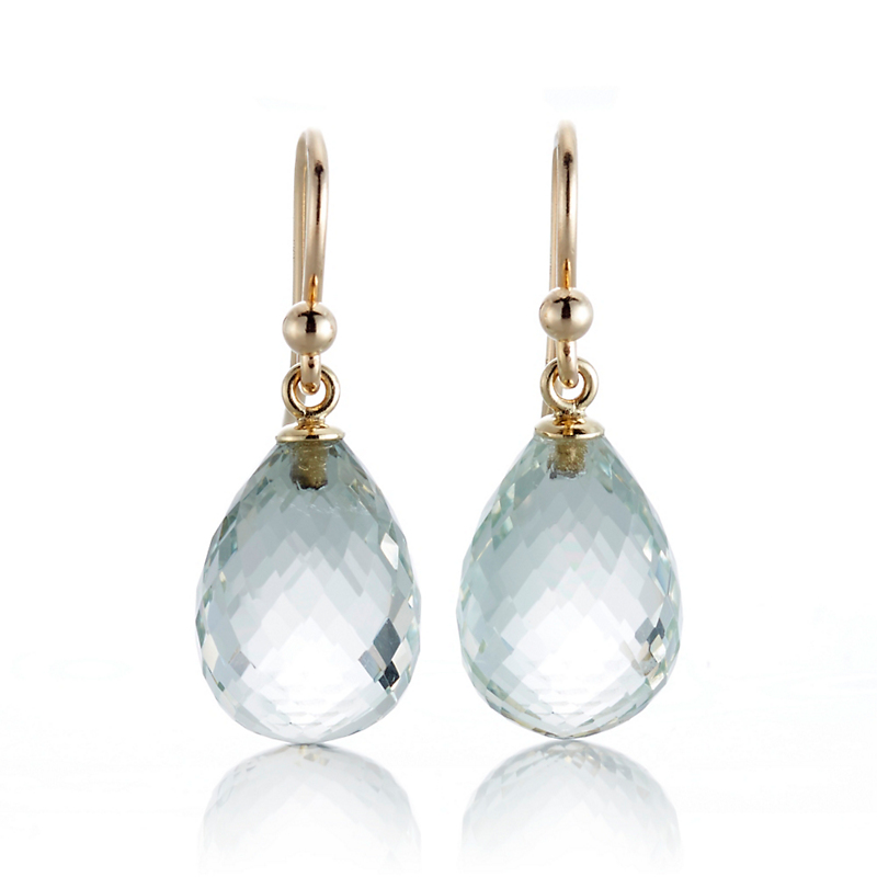 Gump's Faceted Green Quartz Teardrop Earrings