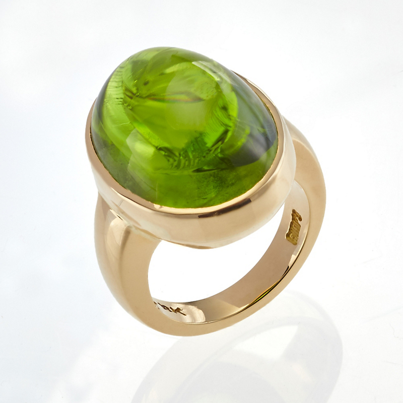 Gump's Peridot Cabochon and Gold Ring