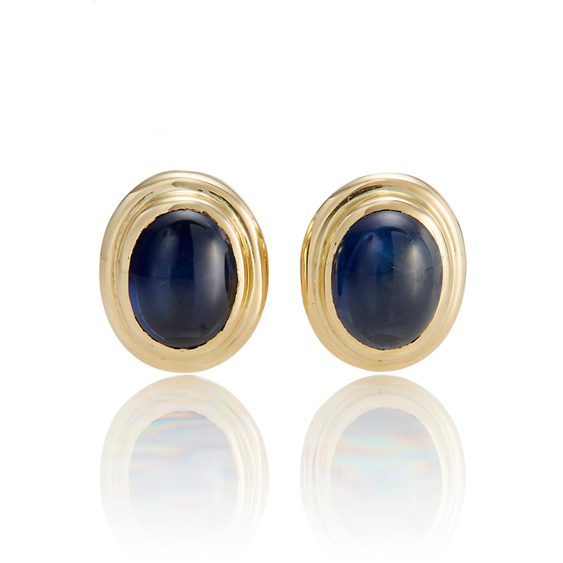 Gump's Double Bezel Deep Blue Sapphire Cabochon Earrings