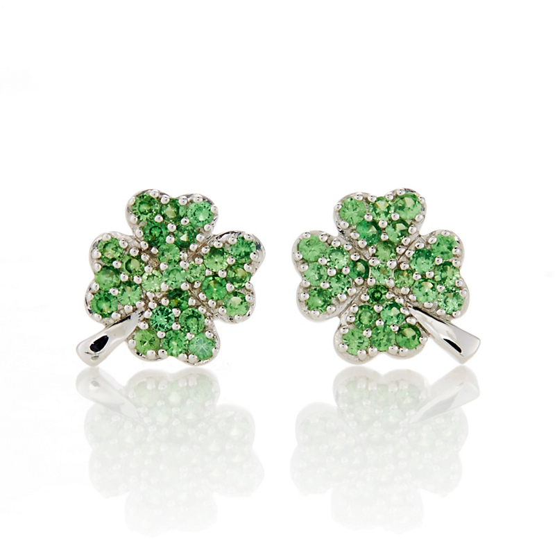 Gump's Tsavorite Clover Stud Earrings