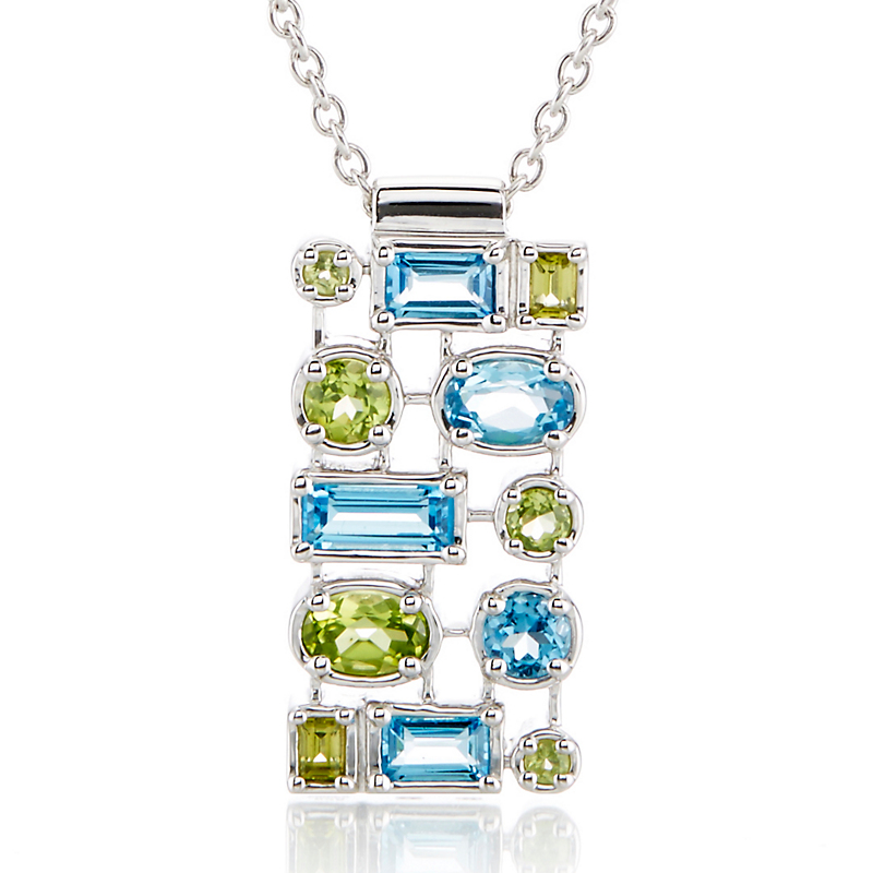 Gump's Peridot & Swiss Blue Topaz Grid Silver Necklace