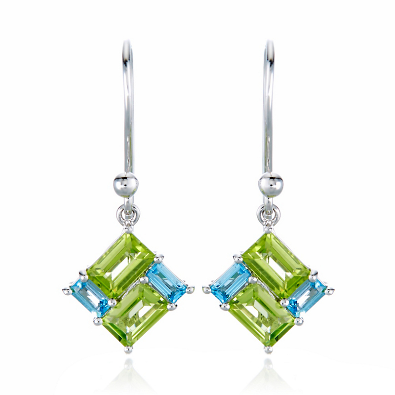 Gump's Peridot & Swiss Blue Topaz Mosaic Drop Earrings