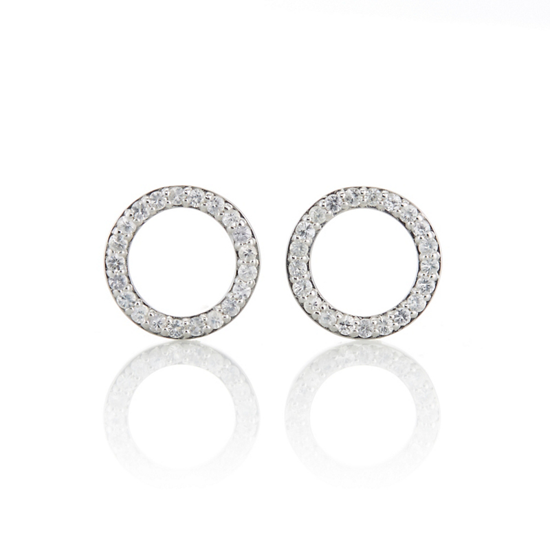 Gump's White Sapphire Open Circle Stud Earrings