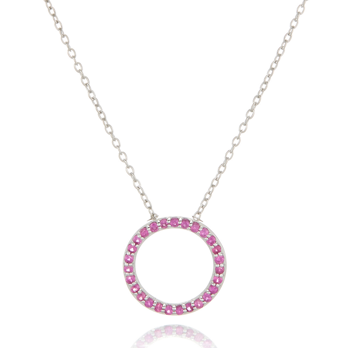 Gump's Pink Sapphire Open Circle Silver Pendant Necklace