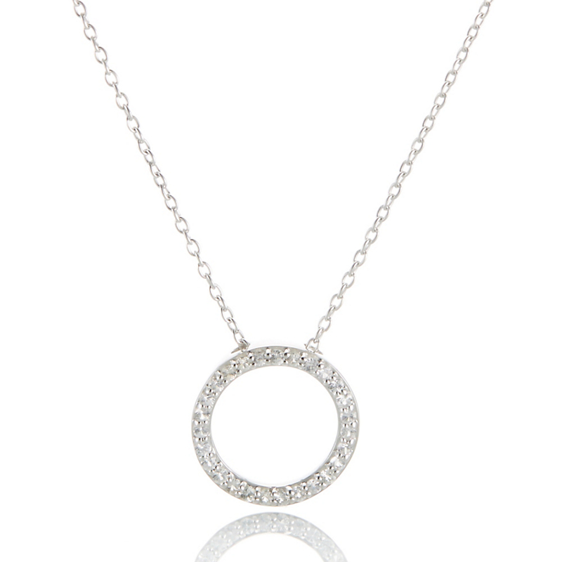 Gump's White Sapphire Open Circle Silver Pendant Necklace