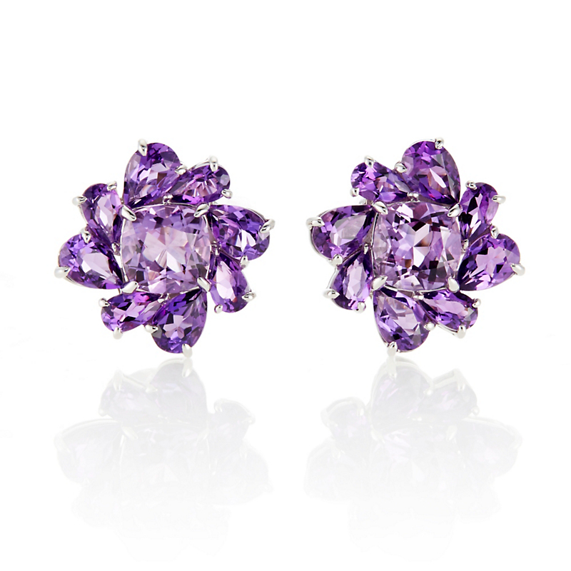 Gump's Amethyst Flower Cluster Earrings