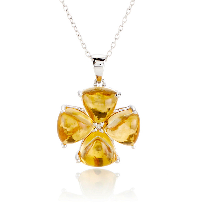 Gump's Citrine & Diamond Flower Silver Necklace