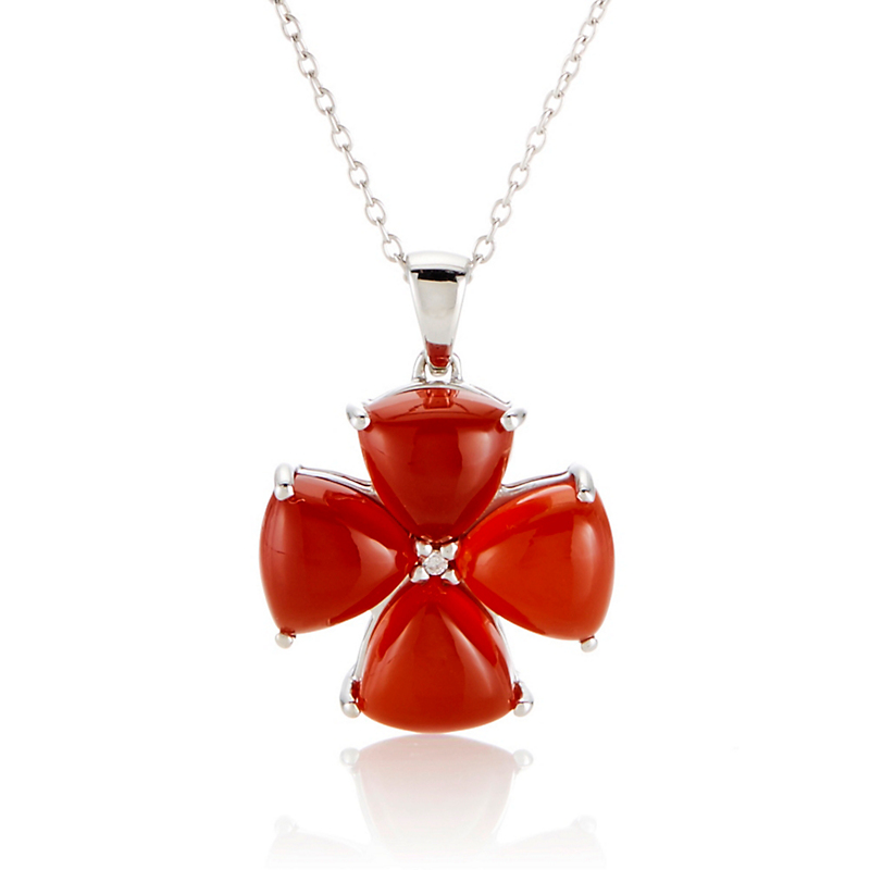 Gump's Carnelian & Diamond Flower Silver Necklace