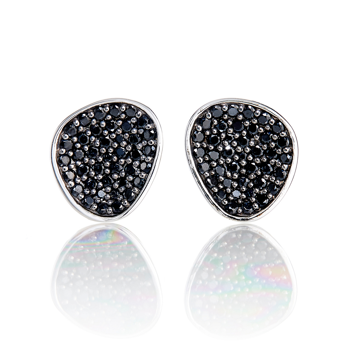 Gump S Pavé Black Spinel Organic Shape Stud Earrings