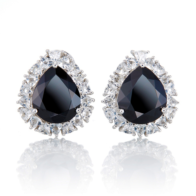 Gump's Onyx & White Topaz Halo Earrings