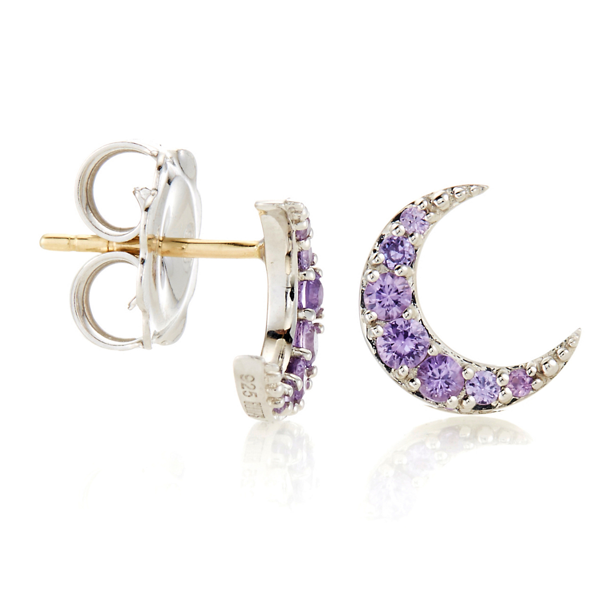 Gump's Violet Sapphire Crescent Stud Earrings
