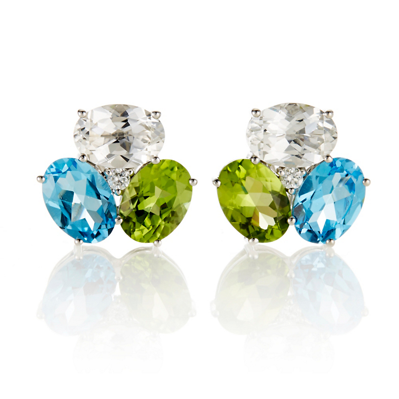 Gump's Peridot, White Topaz, Swiss Blue Topaz & Diamond Earrings