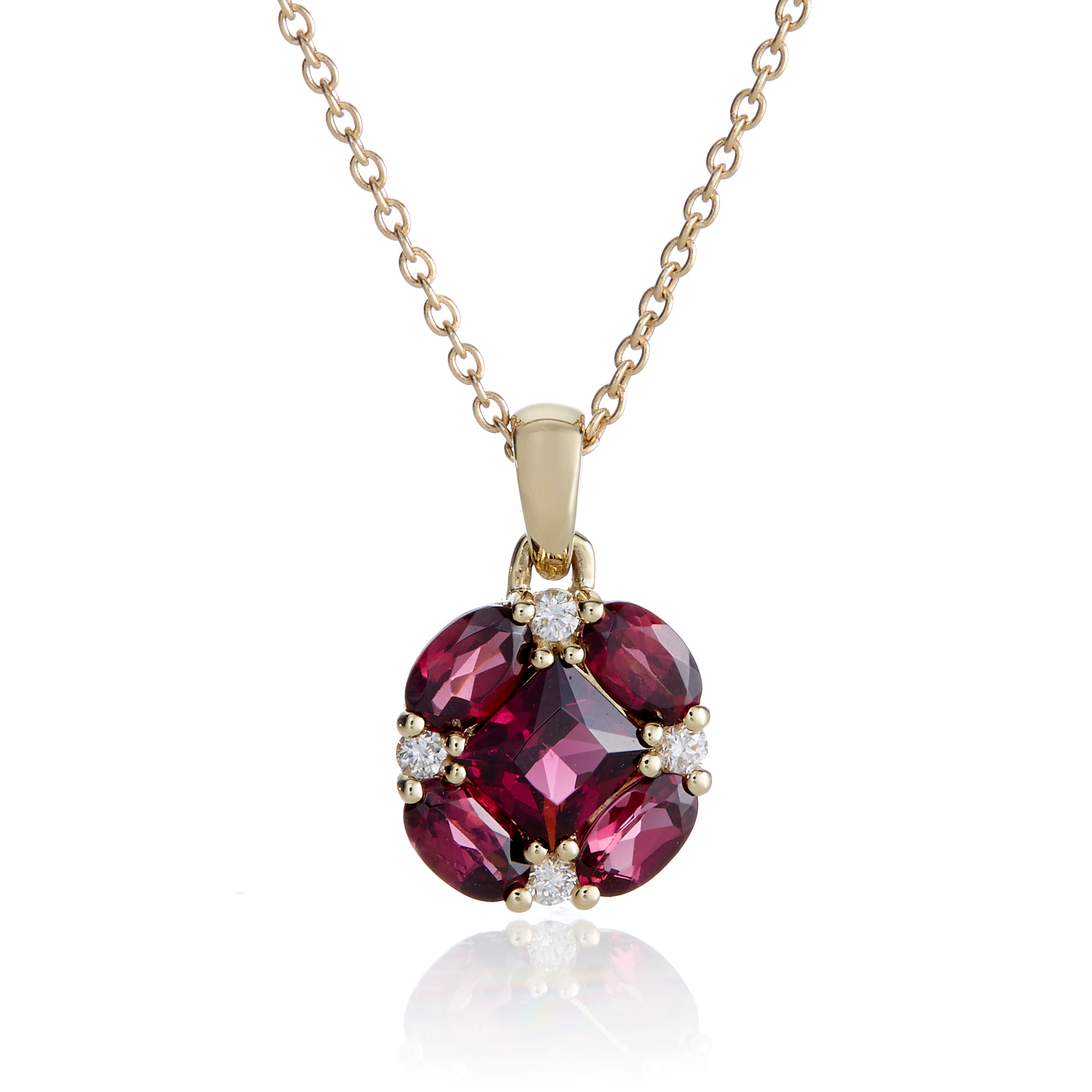 Gump's Rhodolite Garnet and Diamond Quadrille Gold Necklace