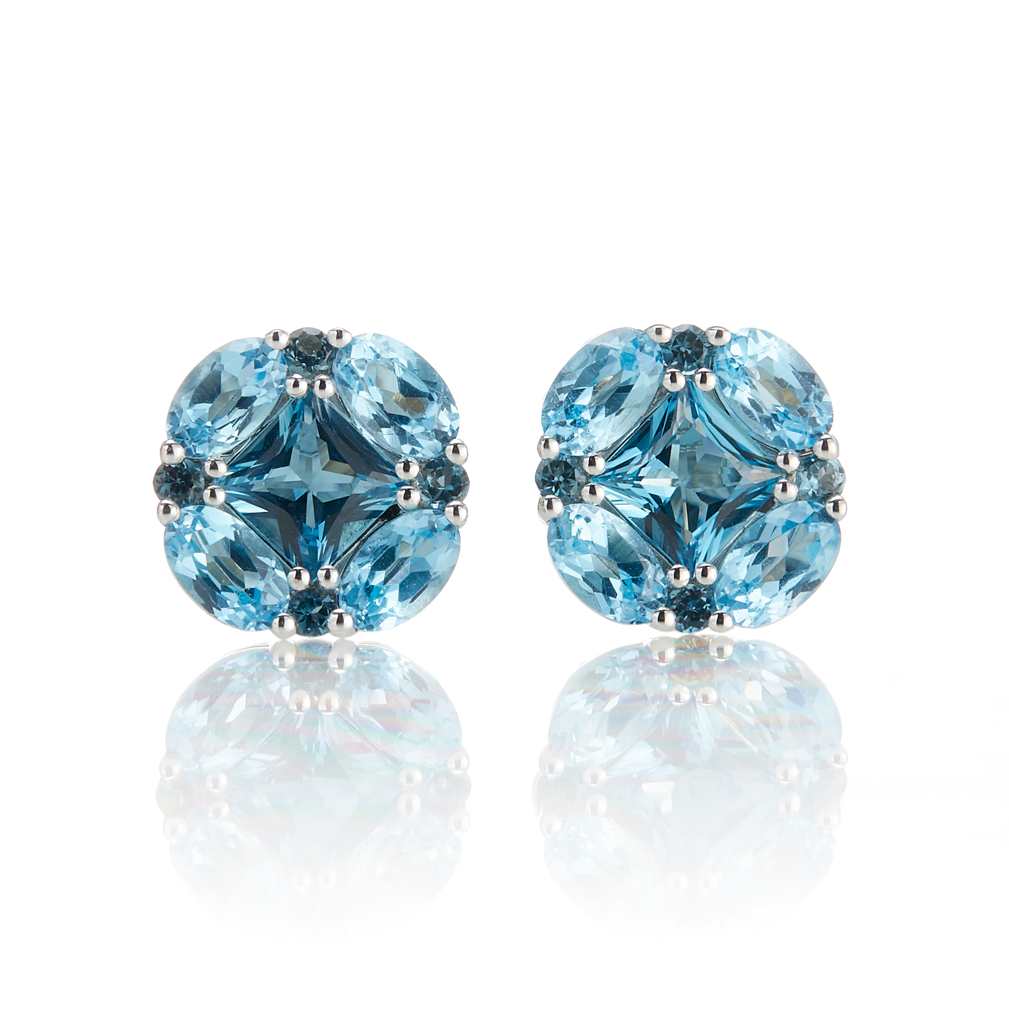 Gump's London & Swiss Blue Topaz Quadrille Earrings