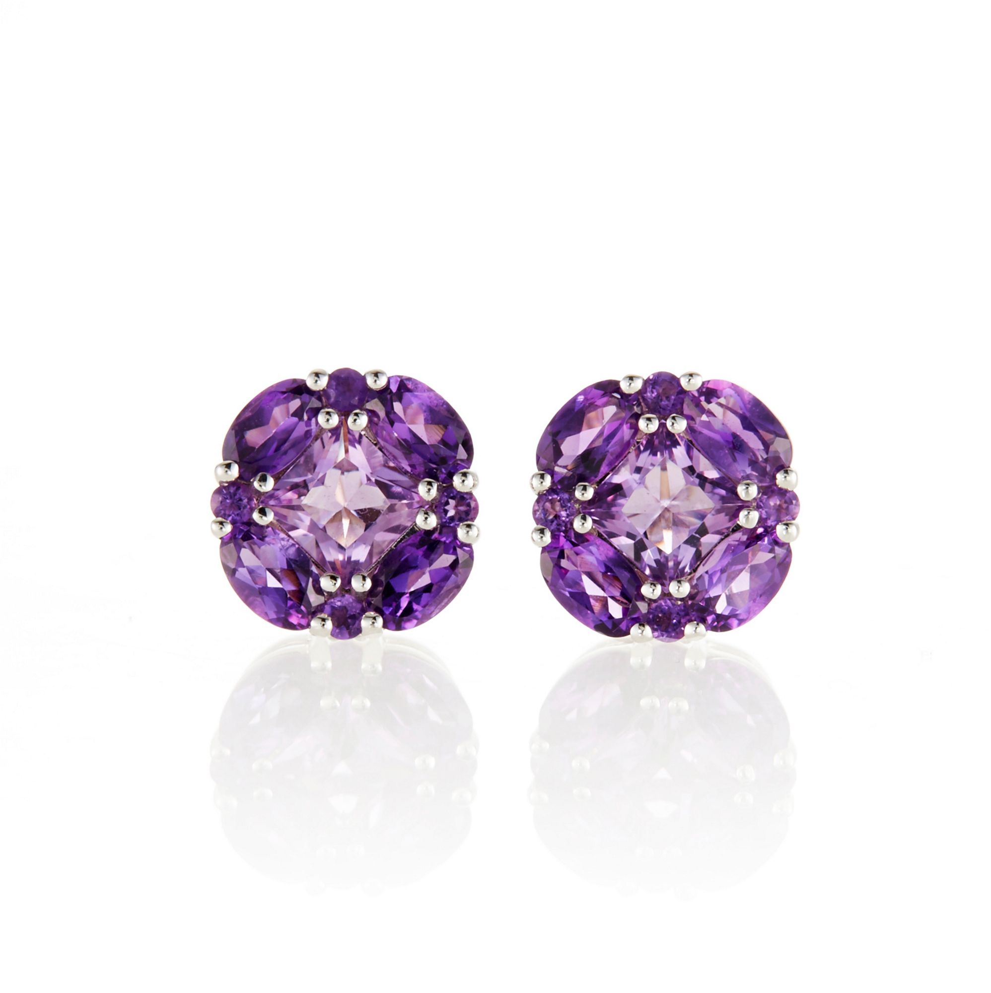 Gump's Multi Amethyst Quadrille Stud Earrings
