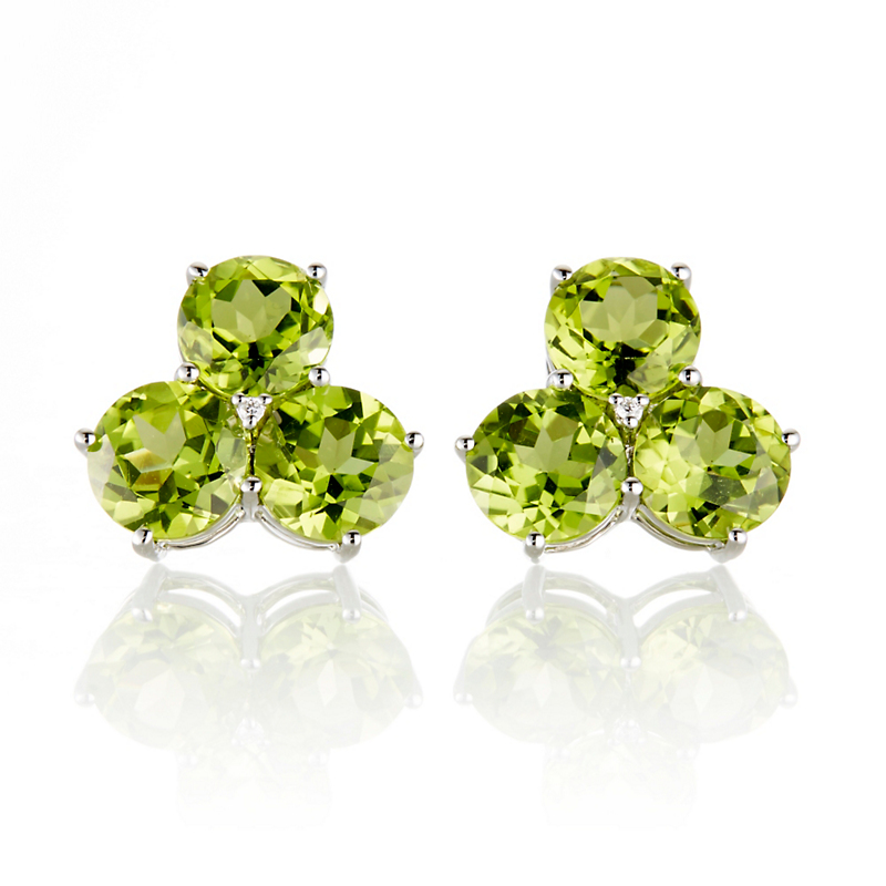 Gump's Peridot Cluster with Diamond Earrings