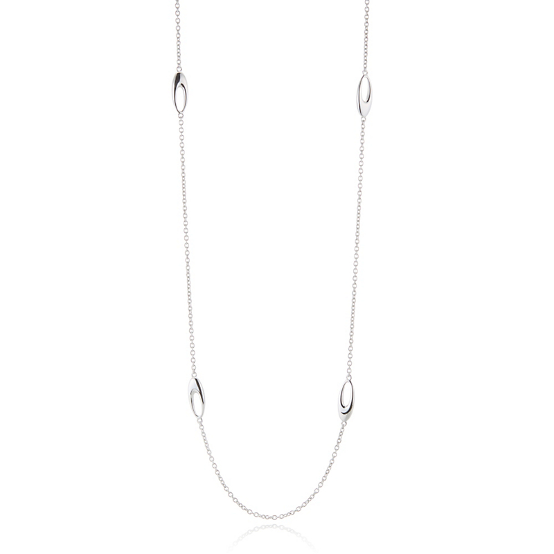 Gump's Open Oval Silver Station Necklace