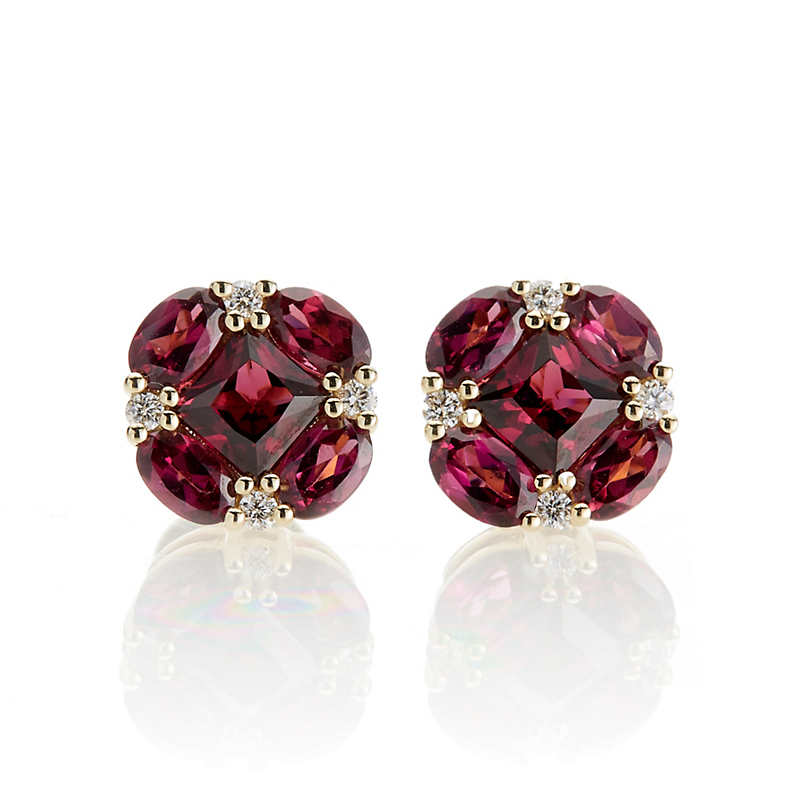 Gump's Rhodolite Garnet and Diamond Quadrille Stud Earrings