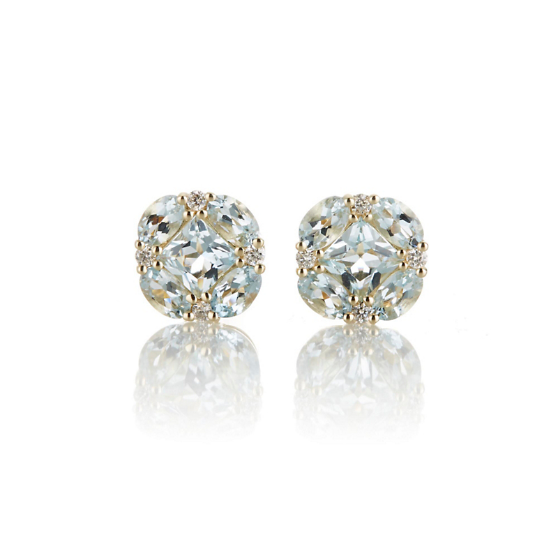 Aquamarine and Diamond Quadrille Stud Earrings