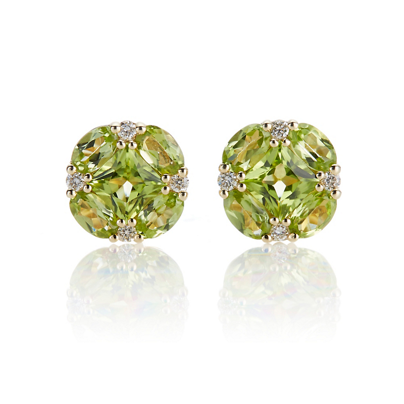Gump's Peridot and Diamond Quadrille Stud Earrings