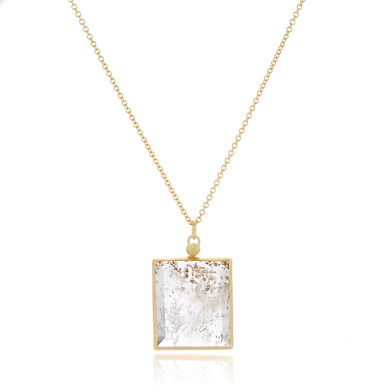Monica Marcella Rectangular Dendrite Large Pendant Necklace