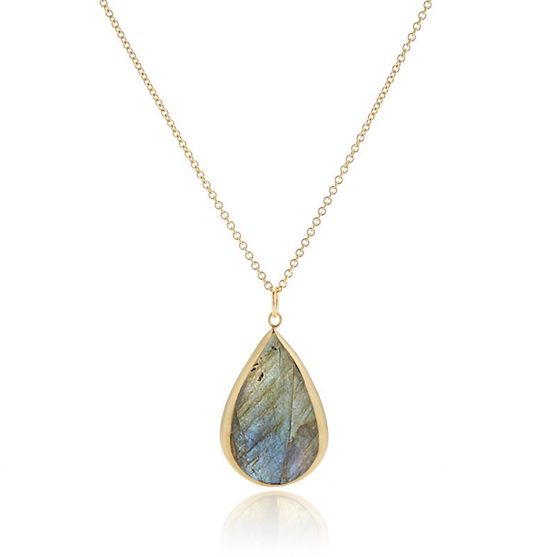 Monica Marcella Labradorite Teardrop Large Pendant Necklace