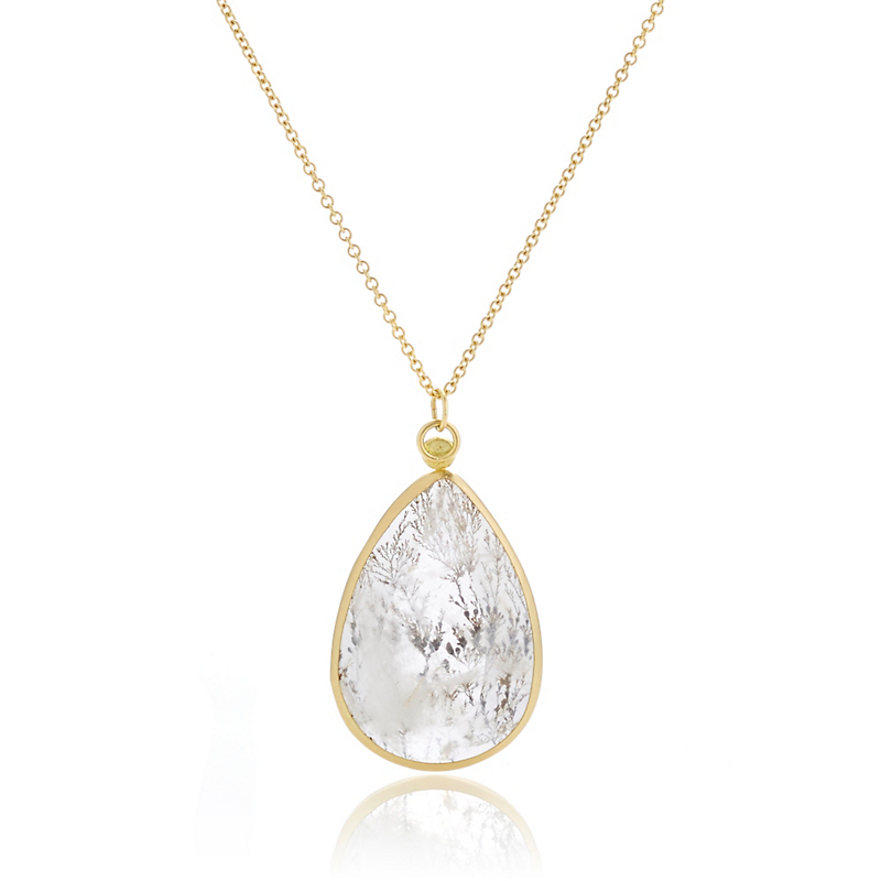 Monica Marcella Dendrite Teardrop Pendant Necklace