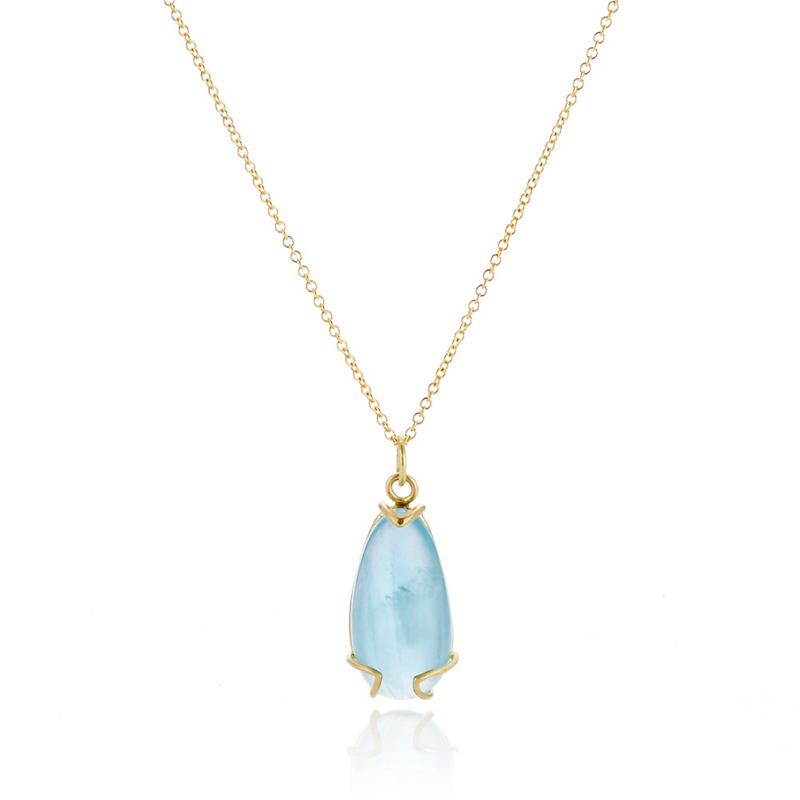 Monica Marcella Aquamarine Teardrop Gold Peak Necklace