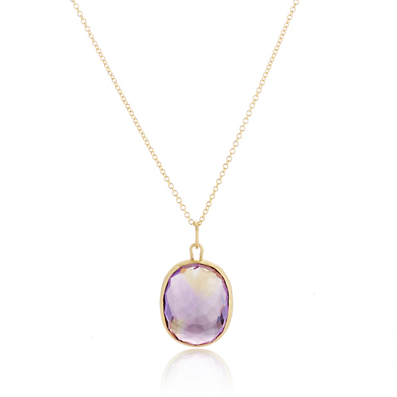 Monica Marcella Faceted Ametrine Oval Pendant Necklace
