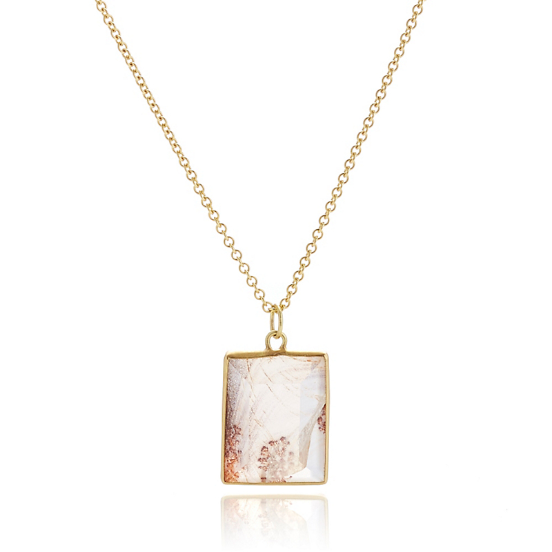 Monica Marcella Rectangular Dendrite Pendant Necklace