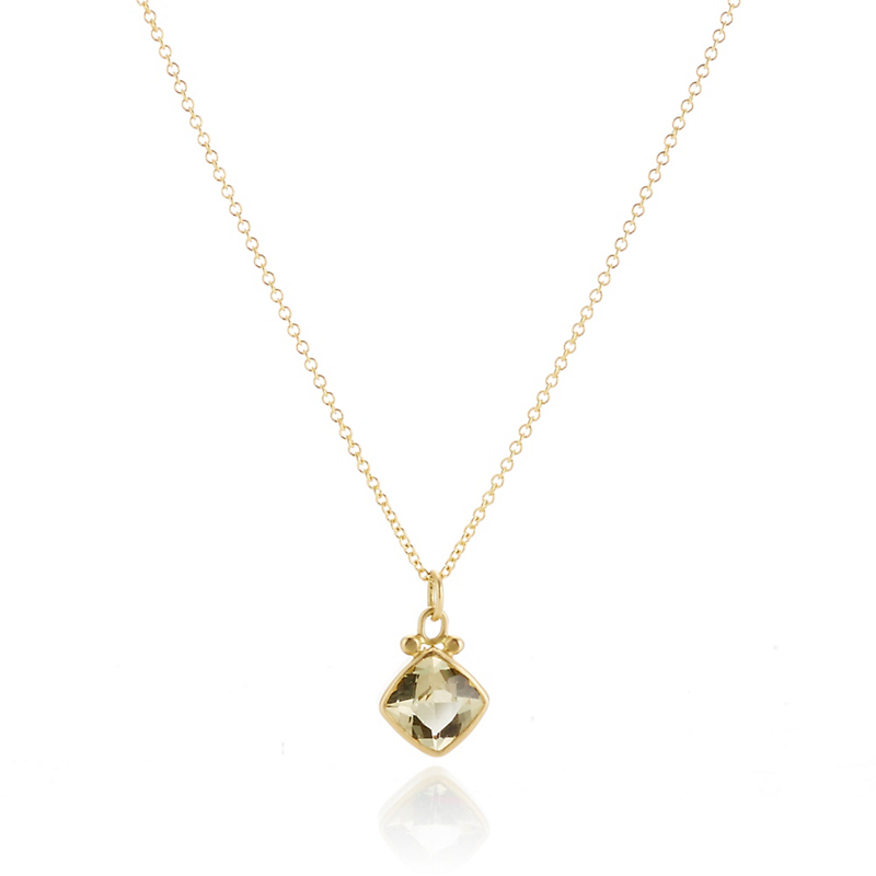 Monica Marcella Petite Yellow Beryl Cushion Pendant Necklace