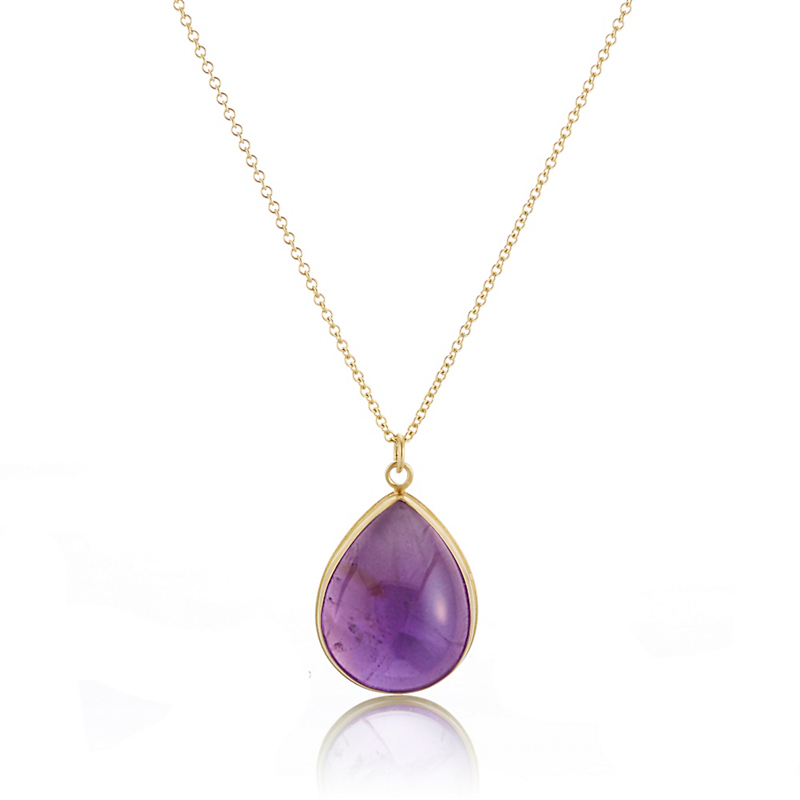 Monica Marcella Amethyst Teardrop Pendant Necklace, Large