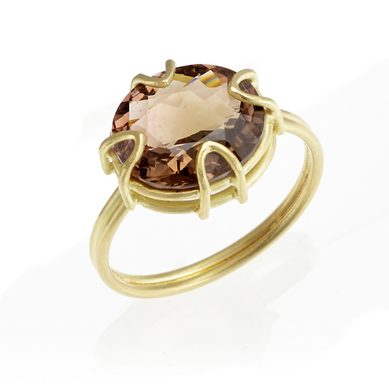 Monica Marcella Round Champagne Tourmaline Gold Peak Ring