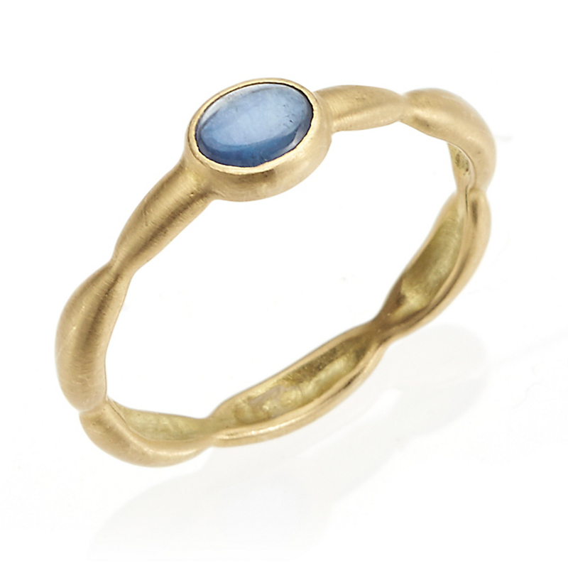 Monica Marcella Sapphire Carved Rice Ring
