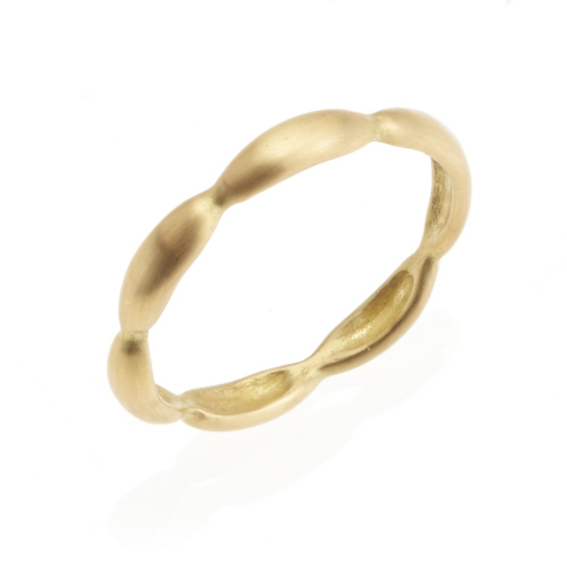 Monica Marcella Thin Carved Rice Matte Gold Ring