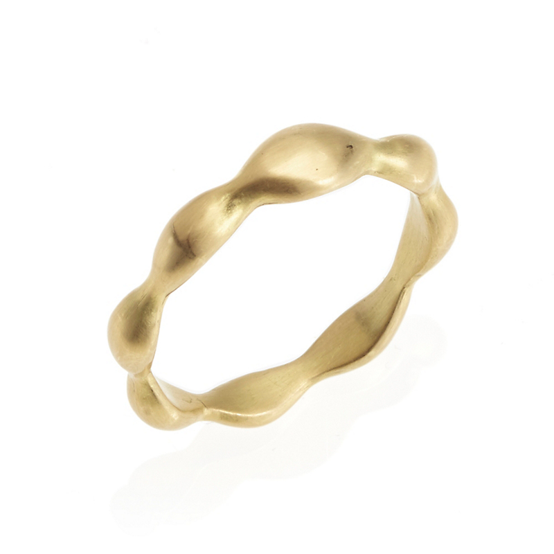 Monica Marcella Thick Carved Rice Matte Gold Ring