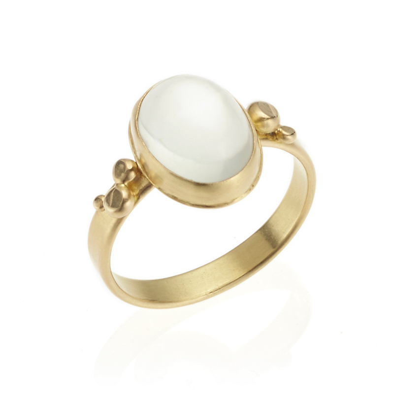 Monica Marcella Pale Green Moonstone Oval Constellation Ring