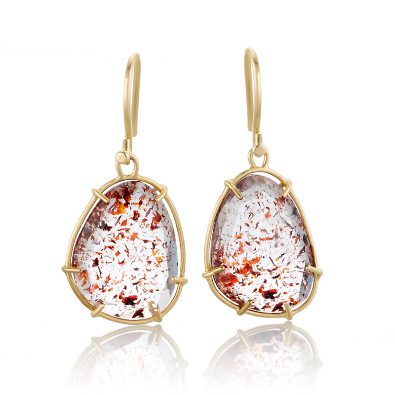 Monica Marcella Strawberry Quartz Drop Earrings