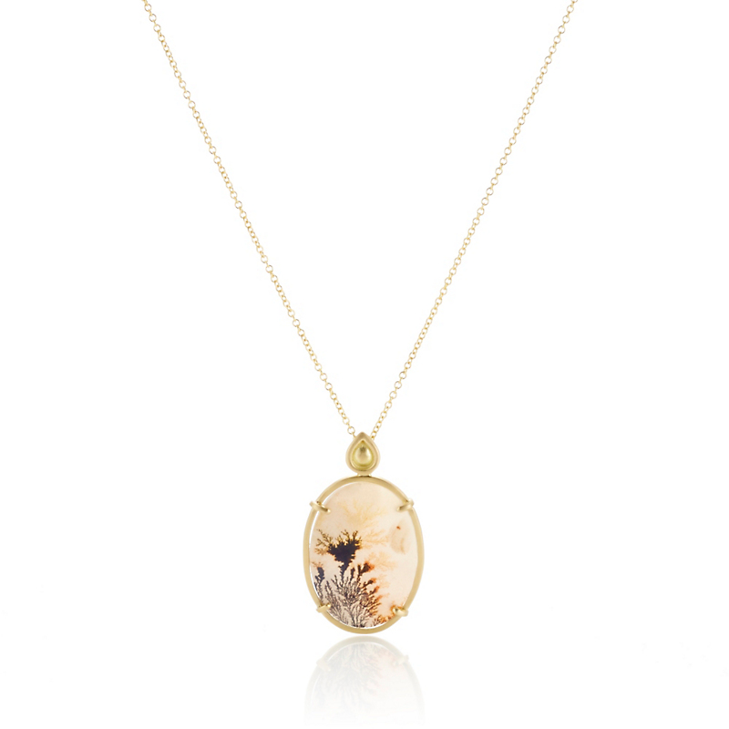 Monica Marcella Bonsai Sunset Oval Dendrite Round Pendant Necklace