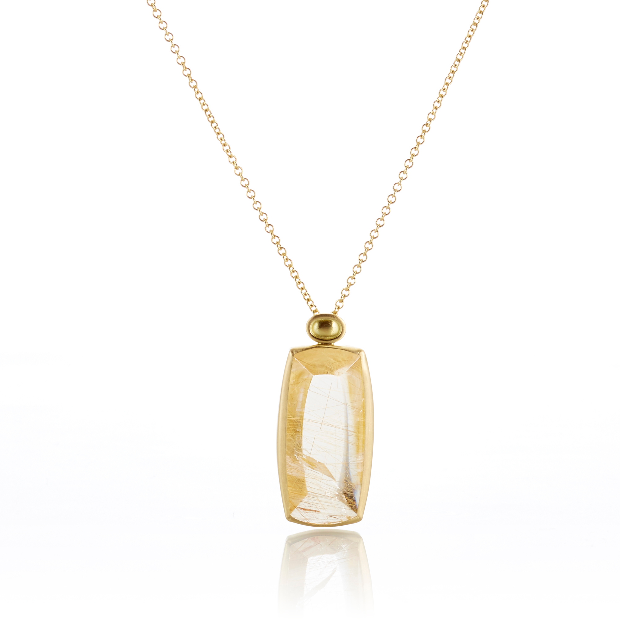 Monica Marcella Rutilated Quartz Shield Pendant Necklace