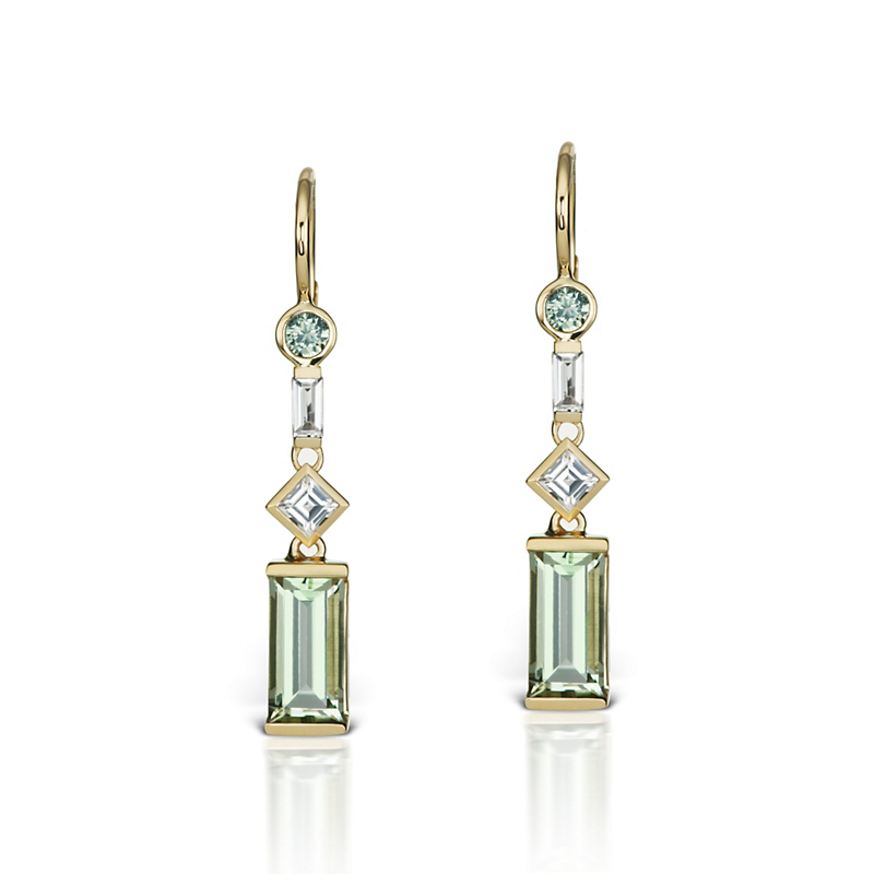Jane Taylor Petite Green Quartz & Sapphire Drop Earrings