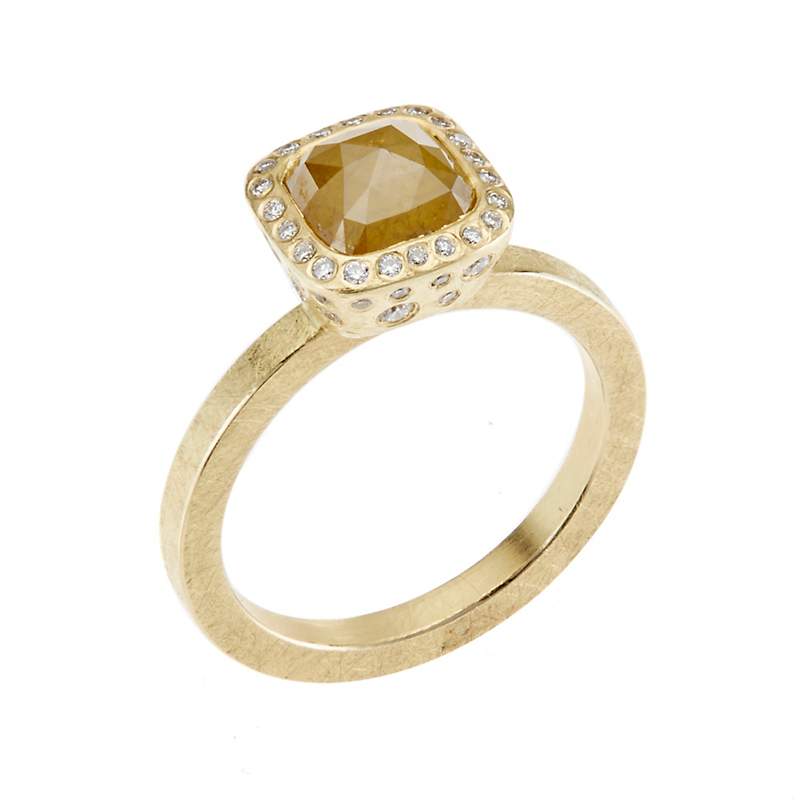 Todd Reed Faceted Yellow Diamond Fancy-Cut Square Ring