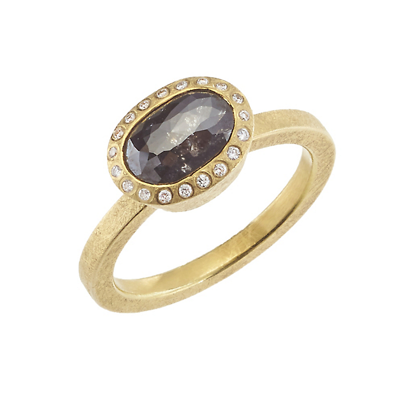 Todd Reed Faceted Black Diamond Fancy-Cut Oval Ring