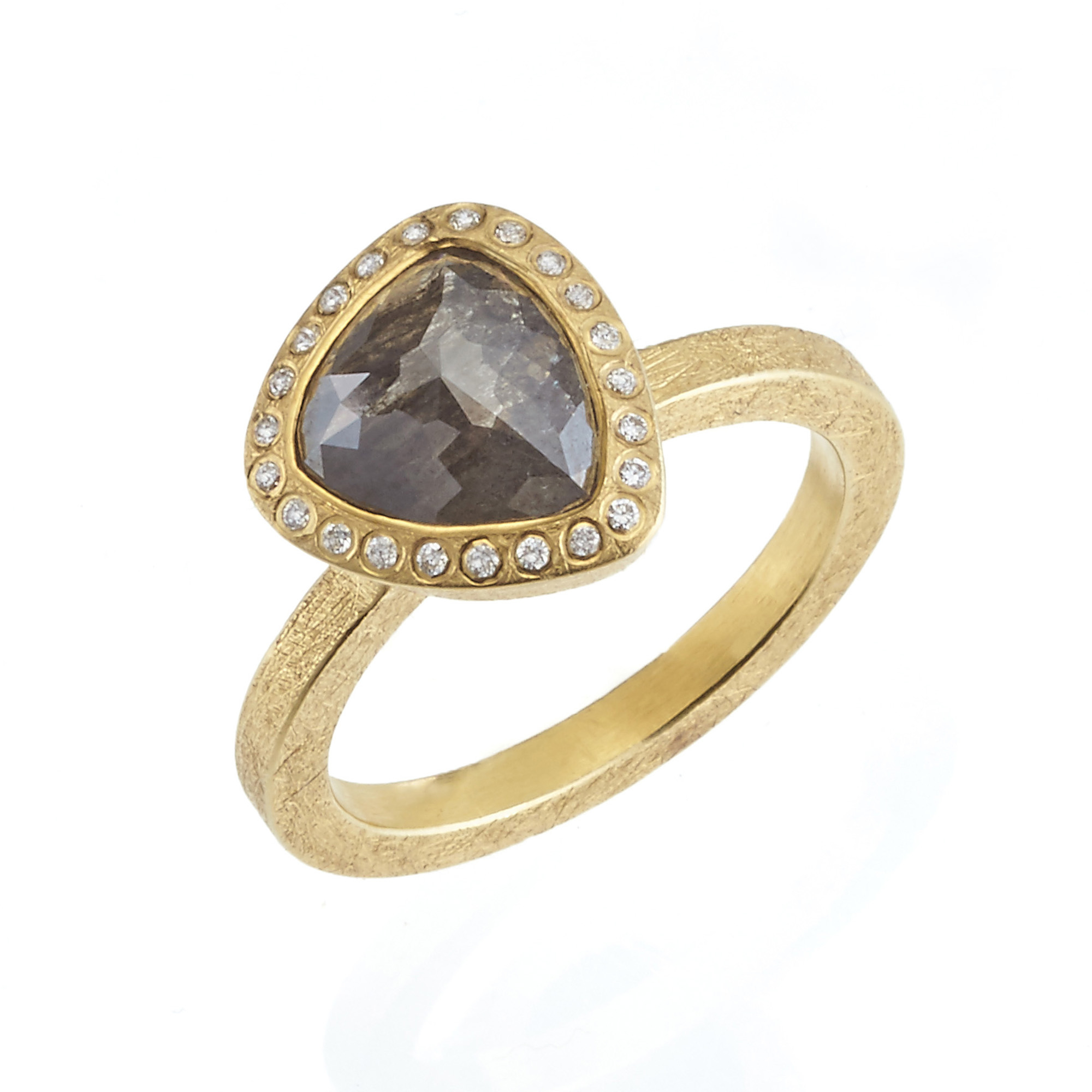 Todd Reed Faceted Black Diamond Fancy-Cut Triangular Ring