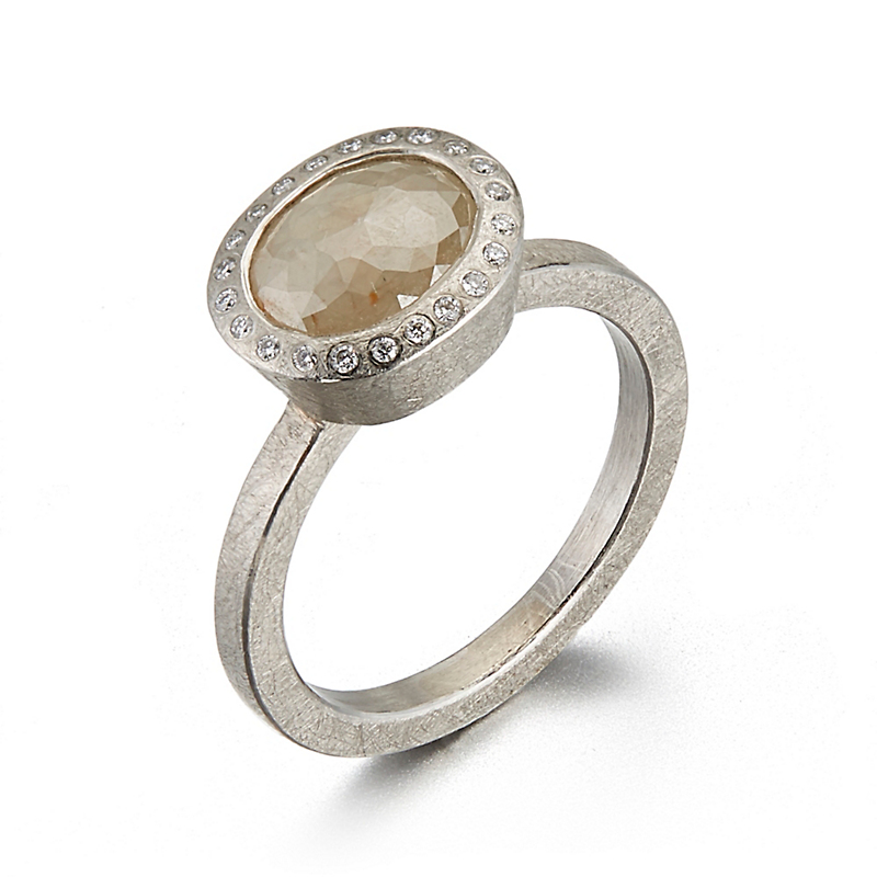 Todd Reed Cream Diamond Palladium Ring