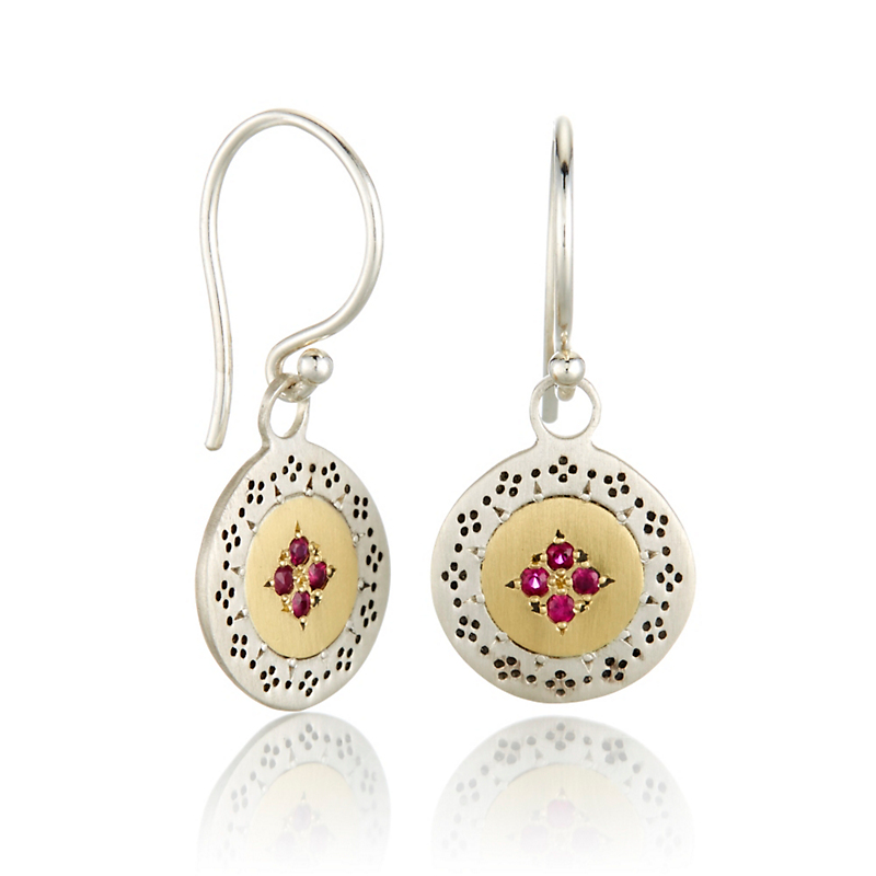 Adel Chefridi Ruby Four Star Harmony Earrings