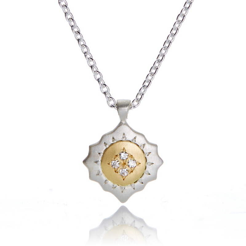 Adel Chefridi East West Diamond Mixed Metal Pendant Necklace